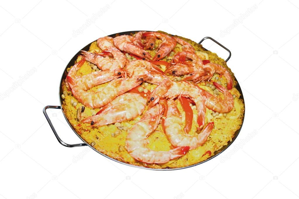 Isolated Paella on white background - Spanish cuisine — Stock Photo #13362198