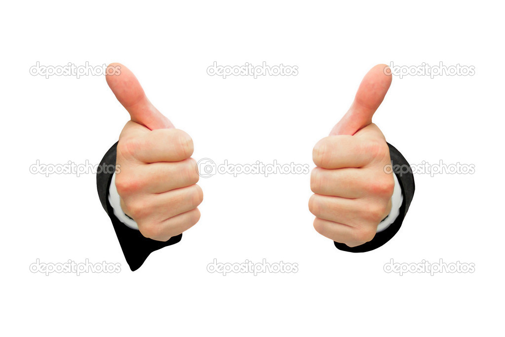Thumbs up isolated on white background — Stock Photo #13689796