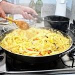 Preparing Paella - Spanish cuisine — Stock Photo