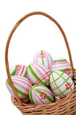 Easter eggs in a basket from corner — Stock Photo