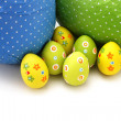 Wrapped chocolate Easter Eggs from top — Stock Photo #13735152