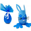 Stock Photo: Blue Easter bunny and egg