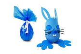 Blaue Osterhase und Ei — Stockfoto