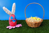 Bunny egg on garden with basket — Stock fotografie