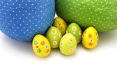 Wrapped chocolate Easter Eggs from top — Stock Photo