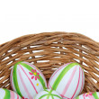 Stockfoto: Easter eggs in basket from bottom