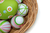 Easter eggs in a basket from corner — Foto Stock