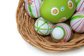 Easter eggs in a basket from corner — Zdjęcie stockowe