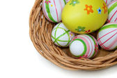 Easter eggs in a basket from top right — Stok fotoğraf