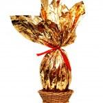 Golden easter egg into a basket — Stock Photo #13757614