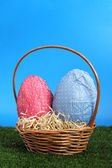 Easter eggs and wicker basket on a studio garden — Stok fotoğraf