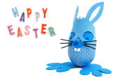 Happy Easter text and blue bunny — Stock Photo