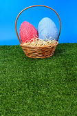 Easter eggs hunt - more grass — Stockfoto