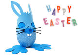 Happy Easter blue bunny — Stockfoto