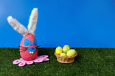 Bunny egg on garden with basket — Foto Stock