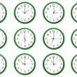 Clocks - 12 different hours — Stock Photo