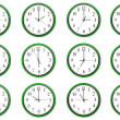 Clocks - 12 different hours — Stock Photo #19577849