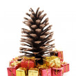 Christmas pine - Focus on gifts — Stock Photo