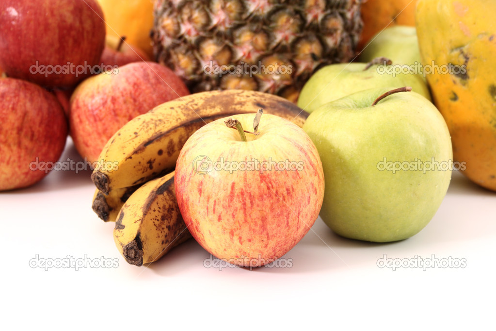 Group of tropical fruits on white background. — Stock Photo #19576895