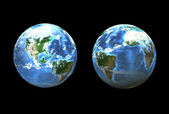 Earth sides (3D) — Foto Stock
