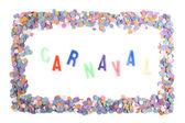Carnaval confetti frame - Portuguese — Stock Photo