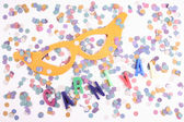 Carnival mask and confetti — Stock Photo