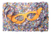 Carnival streamer confetti and mask — Stock Photo