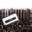 Aligned audio cassettes — Stock Photo