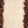 Coffee beans frame and sizal — Stock Photo