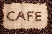 Cafe beans word — Stock Photo