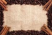 Coffee and cinnamon frame — Stock Photo