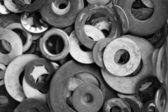 Black and white washers — Stock Photo