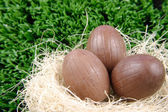 Tree Easter Eggs in the nest — Stock Photo
