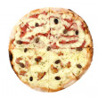 Stock Photo: Pizztop view - 2 flavors