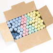 Stock Photo: Colored chalks in box