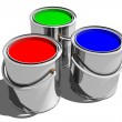 Stock Photo: Paint Cans (3D)