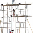 Workers on a scaffold — Foto de Stock