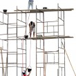 Foto Stock: Workers on scaffold
