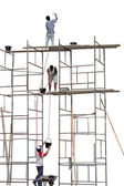 Trabajadores en un andamio — Foto de Stock