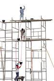 Travailleurs sur un échafaudage — Photo