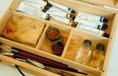 Kunstenaar borstels en hulpmiddelen — Stockfoto
