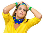 Tense Brazilian supporter — Stock Photo