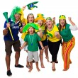 Brazilian friends cheering on — Stock Photo