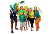 Brazilian friends cheering on — Stock Photo