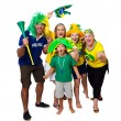 Brazilian family cheering on — Stock Photo