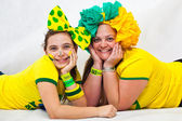 Brazilian fans laying — Stock Photo