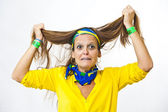 Brazilian fan desperate pulling hair — Stockfoto
