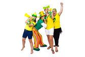 Girls celebrating a Brazilian goal — Stock Photo