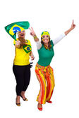Brazilian girls fans celebrating — Stock Photo