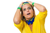 Brazilian supporter suffering — Stock Photo